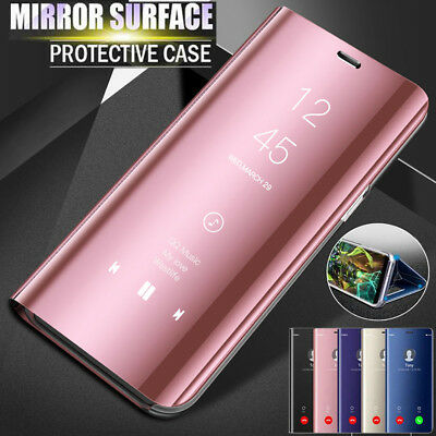 Luxury 360° Clear View Case Cover Mirror Flip Stand For Huawei Y9 2018/P Smart