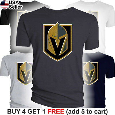 Las Vegas Golden Knights T-Shirt Logo LV Men Cotton