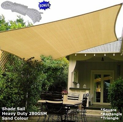 Shade Sail Sun Canopy Outdoor Awning Heavy Duty 280gsm Multi Shape Size- SAND