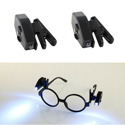 Flexible LED Light Clip On Glasses Torch / Lamp Safety Reading Glasses Lights