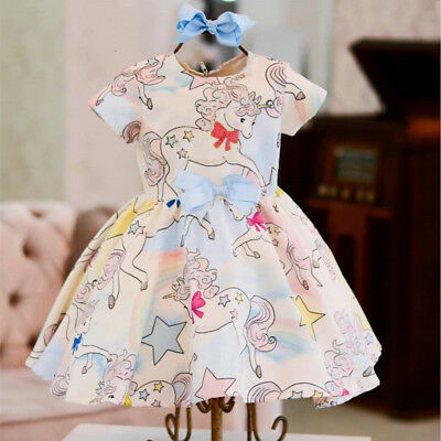 USA Cute Kid Baby Girl Cartoon Unicorn Party Pageant Dress Sundress Clothes 0-4Y