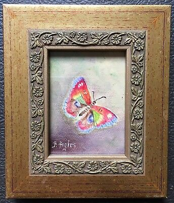 Original Art Watercolour Painting Of Wildlife Insects A Butterfly By Hughes