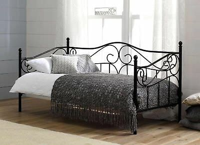 Amy Day 3ft Single Bed Black Vintage French Versailles Day Bed Antique Quality