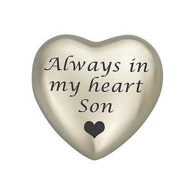 Always In My Heart Son Silver Coloured Heart Urn Keepsake for Ashes Cremation