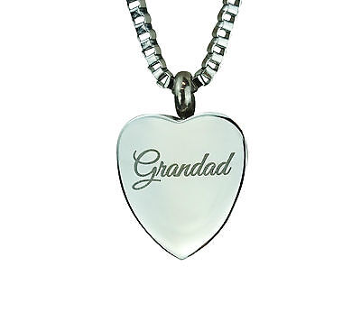 Cremation Jewellery - Memorial Ash Urn Pendant Keepsake - Grandad Heart