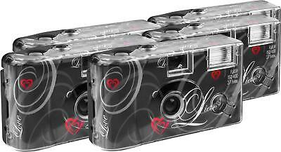 Love Disposable Camera 27 Photos Flash 5 Pack Black Built In Flash New