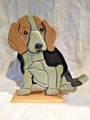Signed Walt Kuhn Intarsia Wood Carving Of A Beagle American Made