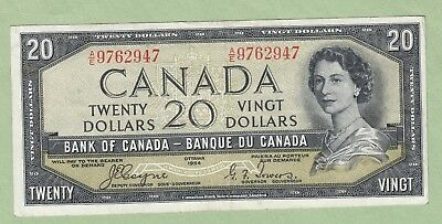 1954 Bank of Canada 20 Dollar Note Devil's Face -Coyne/Towers - A/E9762947 -F/VF