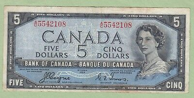 1954 Bank of Canada 5 Dollar Note Devil's Face - Coyne/Towers - A/C5542108 -Fine