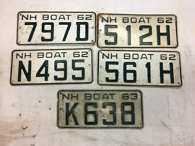 5 Antique Vintage 1963 1962 NH New Hampshire License Plate Boat Trailer