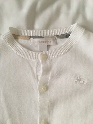 Girls Authentic Burberry White Cardigan