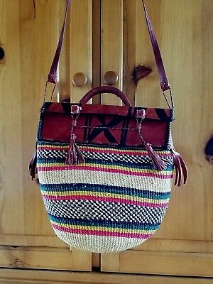 """African sisal straw woven market basket bag leather trimmed 11x11"""""""