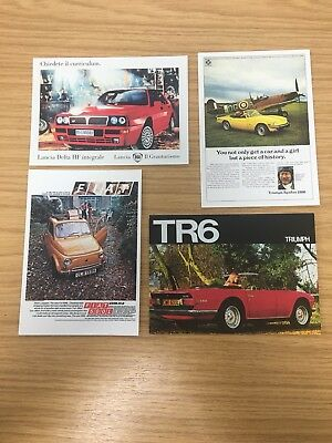 4 x Classic Car Collectible Postcards | Triumph, Fiat, Lancia