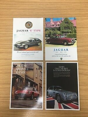 4 x Classic Jaguar Car Collectible Postcards