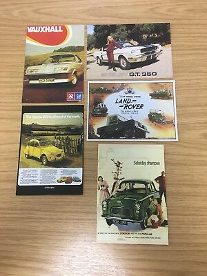 5 x Vintage Car Collectible Postcards | Vauxhall, Land Rover, Shelby Etc