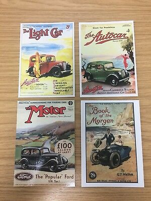 4 x Classic Motor Car 'Advert' Collectible Postcards