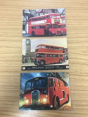 3 x London Red Bus / Fire Engine Collectible Postcards