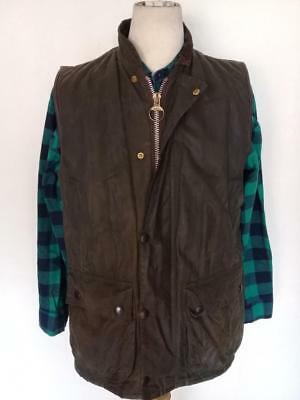 Mens BARBOUR Gillet WAXED Jacket Green Size Medium