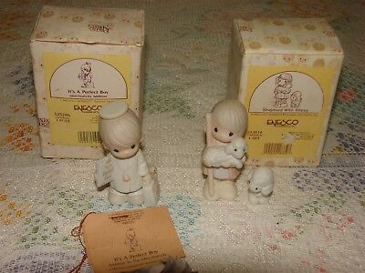 2 Precious Moments Mini Nativity It's a Perfect Boy + Shepherd with Sheep +boxes