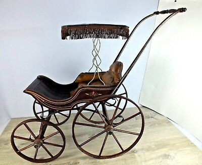 19th Century Victorian Doll Carriage w/ Original Folk Art paint and Decoration