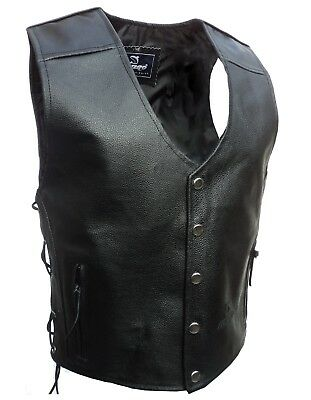 Mens motorbike Leather poppers Buttons Waistcoat Vest