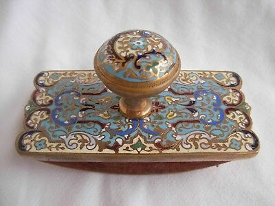 ANTIQUE FRENCH ENAMELED BRONZE,BRASS BLOTTER HOLDER,LATE 19th CENTURY.