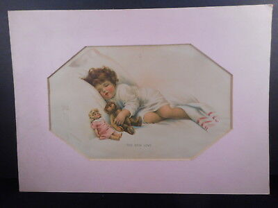 1900s Bessie Pease Gutmann Litho THE NEW LOVE 14 x 10 w/ pink matboard - OLD