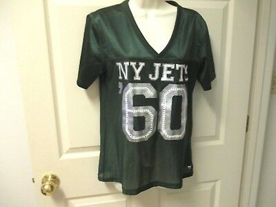 f8a0d084 PINK Victoria's Secret NFL New York Jets Women's green Jersey Top M  Embellished