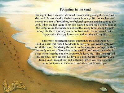 Footprints in the Sand Inspirational Ready to Frame Poem Print