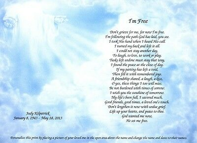 I'm Free Personalized Memorial Keepsake w Photo Section Loss of Loved One Poem