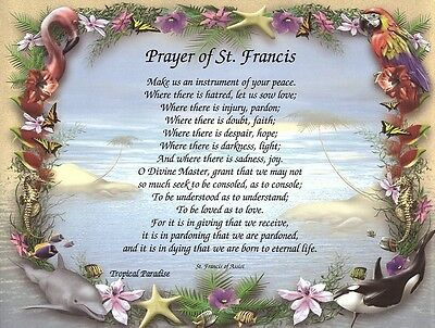 """""""Prayer of St. Francis of Assisi""""  Inspirational Religious Poem Print"""