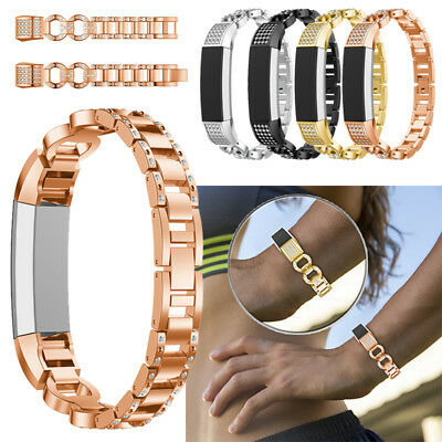 Lady Bling Rhinestone Stainless Steel Watch Wrist Band Strap For Fitbit Alta /HR
