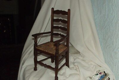 Antique Vintage Hand Made Rattan Seat Rush Salesman Sample Mini Chair 11 1/2""