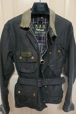 Barbour- A7 International Suit  Waxed Cotton Jacket & Belt- Made @ England- 38