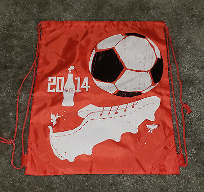 2014 Coca Cola Fifa World Cup Brasil Promo Drawstring Backpack Bags - Lot of 3