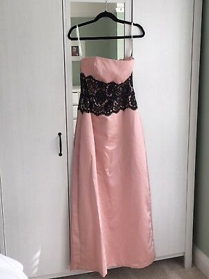 Pink and Black Lace Prom/Bridesmaid Dress. After six. US size 10 (UK 14)