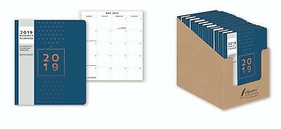 2019 Monthly Planner Calendar Diary Blue Soft Cover with Notes Pages 20cm x 17cm