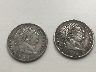 2 George III British Silver Sixpence Coins 1817 & 1818