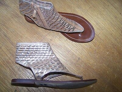 d1809ebcf3d Cole Haan Eve Gladiator Gold Metallic Woven Leather Thong Sandals Shoes.  8.5 B.