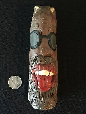 Hand Carved Painted Double Sided Face ~ Oddity Wood Statue Figure Folk Art