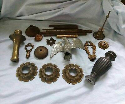 LOT OF ANTIQUE/VINTAGE LAMP FINIALS SOLID Cast BRASS and CAST IRON Rods Bobeche