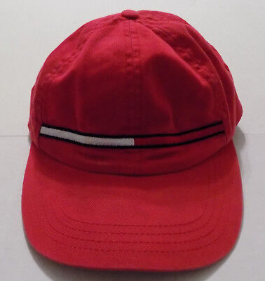 Tommy Hilfiger Hat Spellout Flag Vtg 90s Red Cotton Adjustable Baseball Cap b9f5083f3b51
