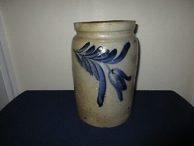 Antique 19th C Stoneware Drooping Flower Decorated 1 gal Pennsylvania Crock