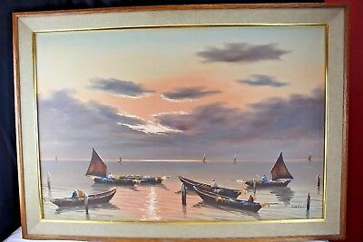 Vintage Oil Painting On Canvas Seascape Boats Sunset Asian Large Wall Decor