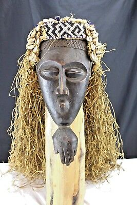 Vintage 50's African Chokwe Tribal Mask, Helmet, Congo Wood and Cowrie Shells