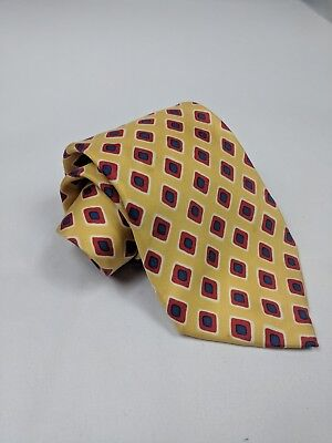 Jos A Bank Collection 100% Silk Mens Yellow Geometric Necktie Red Made in USA