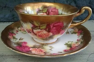 Royal Chelsea Golden Rose Wide Mouth Tea Cup and Saucer Set