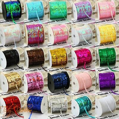 6mm Sequin Trim Cut Length 2M 5M 10M Round Sequins String Sewing Costume Craft