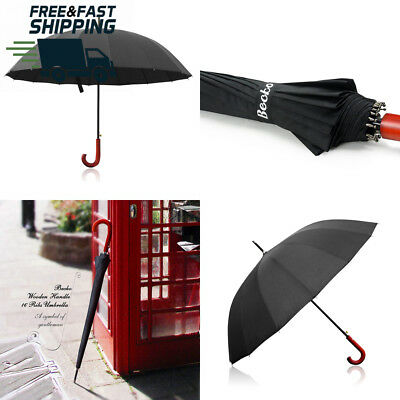 Becko 54 Inches Auto Open Umbrella Long with 16 Ribs, Durable and Strong...