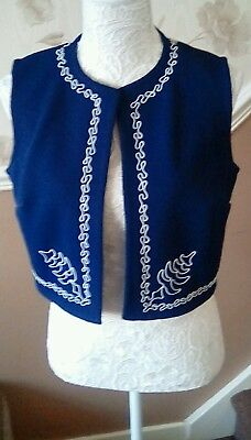 Vintage 1960s ladies Navy waistcoat with white embroidery size 14